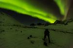 Gordon Maclean photographing the aurora, Tombstone Territorial Park, Yukon Territory, Canada