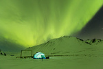 Aurora over camp at Talus Lake, Tombstone Territorial Park, Yukon Territory, Canada