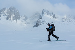 Gordon Maclean touring beneath Mt. Monolith, Tombstone Territorial Park, Yukon Territory, Canada