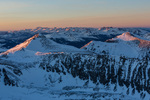 Looking north along the Tenmile Range from the summit of Quandary Peak at sunset, near Breckenridge, Colorado