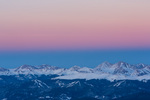 Keystone ski resort and Grays and Torreys Peaks from the summit of Quandary Peak at sunset, Tenmile Range, near Breckenridge, Colorado