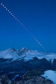 Lunar eclipse over Longs Peak and Mt. Meeker, seen from the summit of Twin Sisters, Rocky Mountain National Park, Colorado