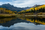 Mt. Sneffels reflected in a beaver pond near County Road 7, San Juan Mountains, Colorado