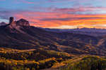 Courthouse Mountain and Chimney Rock at sunset, San Juan Mountains, Colorado