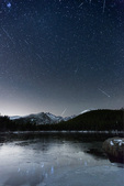 Taurid meteor shower over Longs Peak and Bear Lake, Rocky Mountain National Park, Colorado