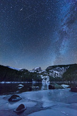 Taurid meteor shower over Hallett Peak and Bear Lake, Rocky Mountain National Park, Colorado. This image is a composite of seven images recorded over an eight-hour period on November 8-9, 2015.