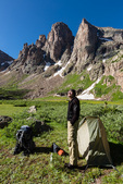 Glenn Randall at his camp in Ruby Basin beneath the Turret Needles, Weminuche Wilderness, Colorado