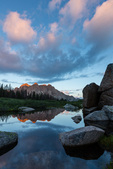 Monitor Peak, Peak Thirteen, and Animas Mountain at sunrise from pond along Noname Creek, Weminuche Wilderness, Colorado