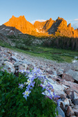 Columbine, Jagged Mountain, Gray Needle, and Peak 10 at sunset, Weminuche Wilderness, Colorado