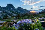 Columbine, Vestal Peak, and Arrow Peak at sunset, Weminuche Wilderness, Colorado