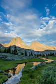 Vestal Peak and Arrow Peak reflected in a pond at sunrise, Weminuche Wilderness, Colorado