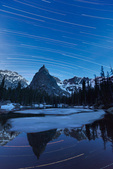 Star trails over Lone Eagle Peak and Mirror Lake, Indian Peaks Wilderness, Colorado