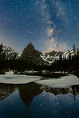 Lone Eagle Peak and the Milky Way reflected in Mirror Lake, Indian Peaks Wilderness, Colorado