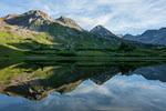 """Peak 12,890 and Peak 13,400 (""""Siberia Peak"""") reflected in Snowfield Lake, Maroon Bells-Snowmass Wilderness, Colorado"""