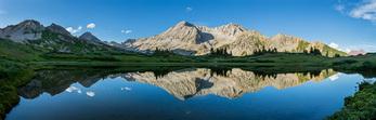 """Peak 12,890, Peak 13,400 (""""Siberia Peak""""), Snowmass Mountain, and Hagerman Peak reflected in Snowfield Lake, Maroon Bells-Snowmass Wilderness, Colorado"""