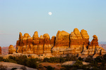 Moonrise over the Doll House at sunset, Maze District, Canyonlands National Park, Utah