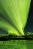 Aurora over the Dietrich River and Alaska Pipeline, Brooks Range, near Wiseman, Alaska