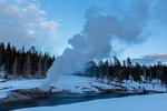 Riverside Geyser at sunset, Yellowstone National Park, Wyoming