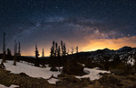 Milky Way panorama over Longs Peak, Rocky Mountain National Park, Colorado