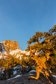 Hallett Peak at sunrise in early spring, Rocky Mountain National Park, Colorado