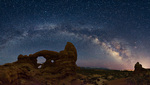 Milky Way arch over Turret Arch and South Window, Arches National Park, Utah
