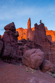 Sunset light on the Fisher Towers, Utah