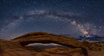 Milky Way panorama over Mesa Arch, Canyonlands National Park, Utah