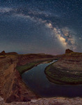 Milky Way panorama over the Goosenecks of the Colorado River, Canyonlands National Park, Utah