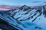 Mount Daly and Capitol Lake at sunset from ridge west of Capitol Pass, Maroon Bells-Snowmass Wilderness, Colorado