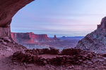 False Kiva and Candlestick Tower at sunset, Island in the Sky district, Canyonlands National Park, Utah