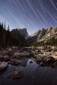 Star trails over Dream Lake and Hallett Peak, Rocky Mountain National Park, Colorado