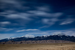 Sand dunes and the Sangre de Cristo Range by moonlight, Great Sand Dunes National Park, Colorado