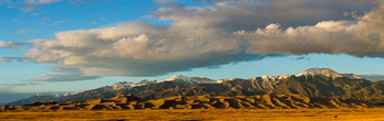 Great Sand Dunes National Park and the Sangre de Cristos Range near sunset in mid-December, Colorado
