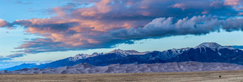 Sand dunes and the Sangre de Cristo Range at sunset, Great Sand Dunes National Park, Colorado