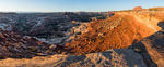Panorama of the Maze from the Maze Overlook at sunrise, Maze District, Canyonlands National Park, Utah