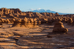 Hoodoos at sunset at Goblin Valley State Park, Utah. Note: several people removed digitally.