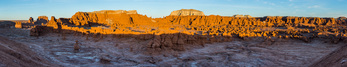 Goblin Valley panorama at sunset, Goblin Valley State Park, Utah. Note: one jet contrail removed digitally.