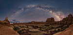 Panorama of the Milky Way over Elephant Canyon, Needles District, Canyonlands National Park, Utah