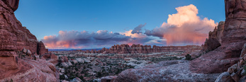 Panorama of Elephant Canyon at sunset, Needles District, Canyonlands National Park, Utah