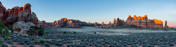Panorama of Chesler Park at sunrise, Needles District, Canyonlands National Park, Utah