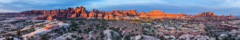 Panorama of towers above Elephant Canyon at sunrise, Needles District, Canyonlands National Park, Utah