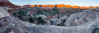Panorama of towers along the Big Spring Canyon-Elephant Canyon trail at sunrise, Needles District, Canyonlands National Park, Utah