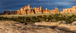 Panorama of Chelser Park at sunset, Needles District, Canyonlands National Park, Utah
