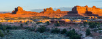 Wooden Shoe Arch panorama at sunset, Needles District, Canyonlands National Park, Utah
