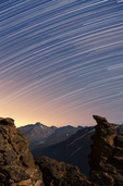 Star trails over the Rock Cut and Longs Peak, Rocky Mountain National Park, Colorado