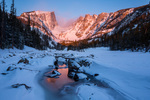Hallett Peak and Dream Lake at sunrise, Rocky Mountain National Park, Colorado