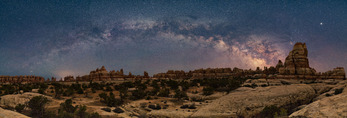 Milky Way panorama over Chesler Park, Needles District, Canyonlands National Park, Utah