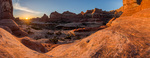 Panorama of Squaw Canyon at sunrise, Needles District, Canyonlands National Park, Utah