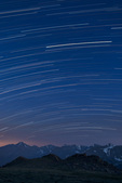 Star trails over Longs Peak and the Continental Divide from Timberline Pass, Rocky Mountain National Park, Colorado.