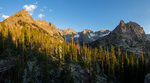 Apache Peak, Mt. George, and Lone Eagle Peak from the Cascade Creek trail at sunset, Indian Peaks Wilderness, Colorado